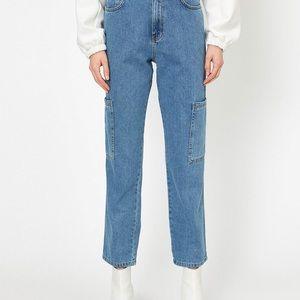 Denver Hayes high waist denim blue cargo pants.